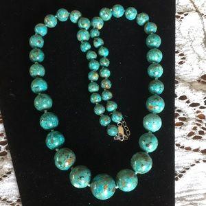 "Jewelry - Turquoise Royston authentic bead necklace 925. 28"""